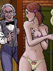 Cartoon bondage pics of redhead slave cutie gets cum covered after riding rockhard dick.