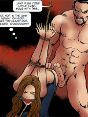 Stunning drawings of young naked submissive beauties with their hands cuffed or chained behind their smooth backs