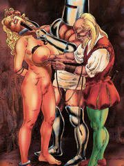 Helpless enslaved girl forced to serve filthy tavern visitors all naked.