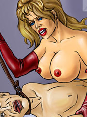 Naked blonde hotties suffering hard humuliation and rough fucking. tags: boobs, shaved pussy, bdsm art, naked girl.