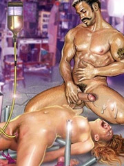 Three slave girls on the high heels gonna serve their cruel older master.