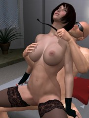 3d bdsm toon of cruel master enslaved and torturing two totally nude beauties in his place.